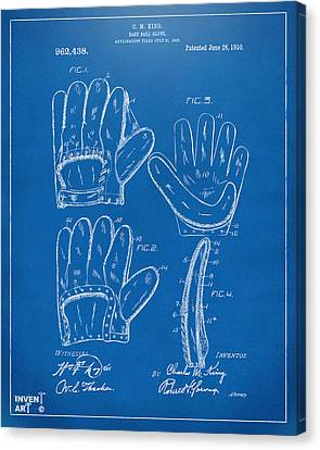 1910 Baseball Glove Patent Artwork Blueprint Canvas Print by Nikki Marie Smith