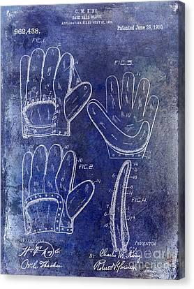 1910 Baseball Glove Patent Blue Canvas Print by Jon Neidert