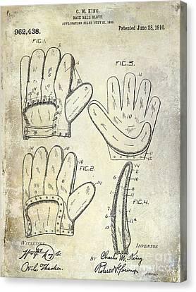 1910 Baseball Glove Patent  Canvas Print by Jon Neidert