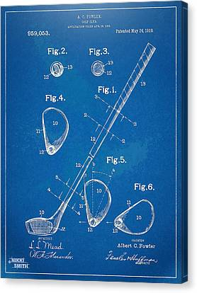 1910 Golf Club Patent Artwork Canvas Print by Nikki Marie Smith