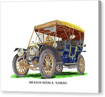 Canvas Print featuring the painting 1910 Knox Model R 5 Passenger  Touring Automobile by Jack Pumphrey