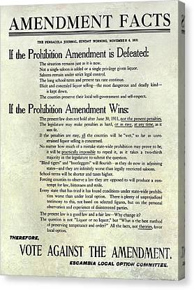 1910 Prohibition Amendment Facts Canvas Print