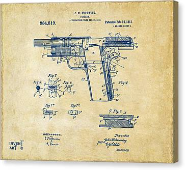 1911 Colt 45 Browning Firearm Patent 2 Artwork Vintage Canvas Print by Nikki Marie Smith