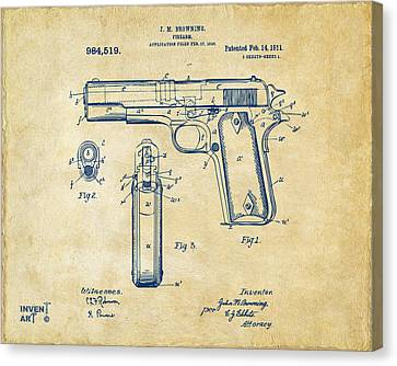 1911 Colt 45 Browning Firearm Patent Artwork Vintage Canvas Print by Nikki Marie Smith