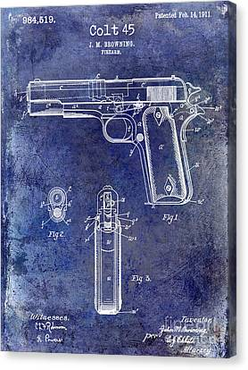 1911 Colt 45 Firearm Patent Canvas Print by Jon Neidert