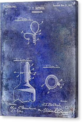 Napa Valley Vineyard Canvas Print - 1911 Corkscrew Patent Blue by Jon Neidert