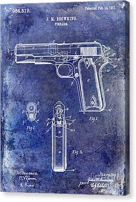 1911 Firearm Patent Blue Canvas Print by Jon Neidert