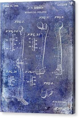 Human Skeleton Canvas Print - 1911 Mechanical Skeleton Patent 1 Blue by Jon Neidert