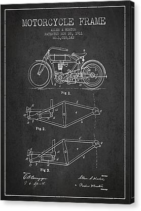 1911 Motorcycle Frame Patent - Charcoal Canvas Print by Aged Pixel