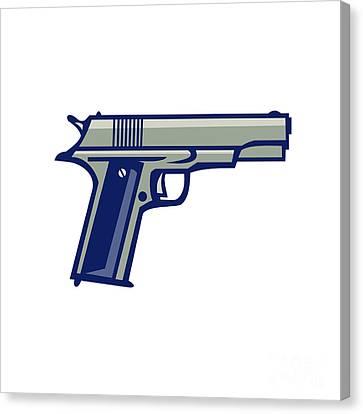 Fed Canvas Print - 1911 Semi-automatic Pistol Side Retro by Aloysius Patrimonio