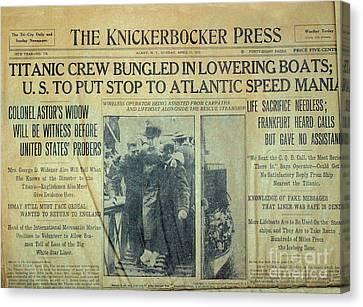 1912 Titanic Newspaper Canvas Print by Jon Neidert
