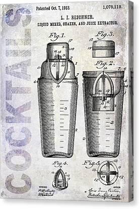 1913 Cocktail Shaker Patent Canvas Print