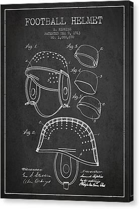 1913 Football Helmet Patent - Charcoal Canvas Print