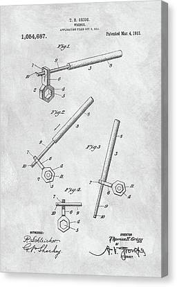 1913 Wrench Patent Illustration Canvas Print by Dan Sproul
