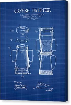 1914 Coffee Dripper Patent - Blueprint Canvas Print