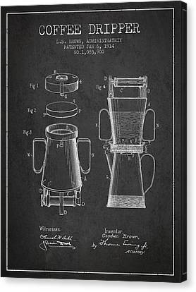 1914 Coffee Dripper Patent - Charcoal Canvas Print