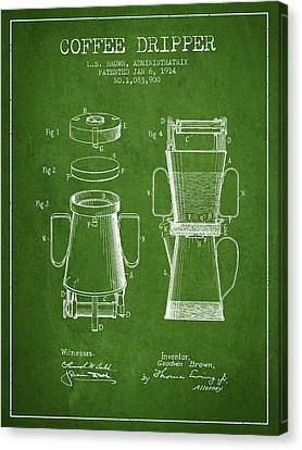 1914 Coffee Dripper Patent - Green Canvas Print by Aged Pixel