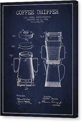 1914 Coffee Dripper Patent - Navy Blue Canvas Print
