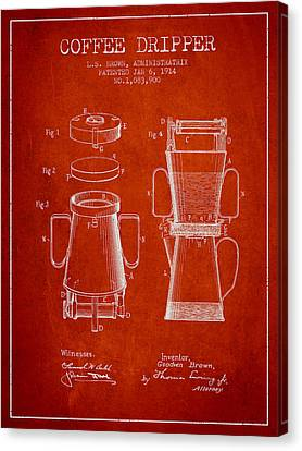 1914 Coffee Dripper Patent - Red Canvas Print
