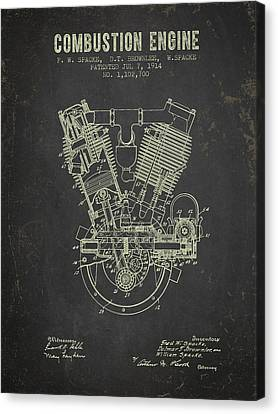 1914 Compustion Engine Patent - Dark Grunge Canvas Print by Aged Pixel