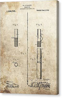 1914 Fishing Rod Patent Canvas Print by Dan Sproul