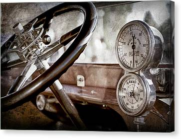 Canvas Print featuring the photograph 1914 Rolls-royce 40 50 Silver Ghost Landaulette Steering Wheel -0795ac by Jill Reger