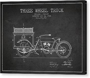 1914 Three Wheel Truck Patent - Charcoal Canvas Print by Aged Pixel