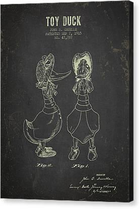 1915 Female Toy Duck Patent - Dark Grunge Canvas Print
