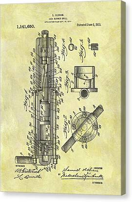 1915 Jack Hammer Patent Canvas Print by Dan Sproul