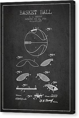 Nba Drawings Canvas Print - 1916 Basket Ball Patent - Charcoal by Aged Pixel