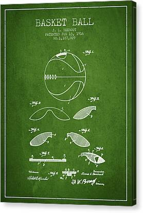 1916 Basket Ball Patent - Green Canvas Print by Aged Pixel