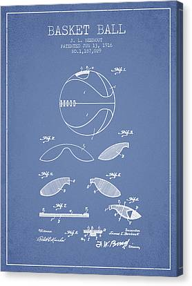1916 Basket Ball Patent - Light Blue Canvas Print by Aged Pixel
