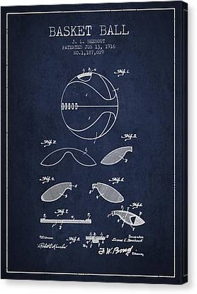 1916 Basket Ball Patent - Navy Blue Canvas Print
