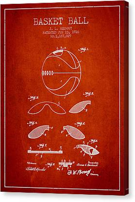 1916 Basket Ball Patent - Red Canvas Print by Aged Pixel