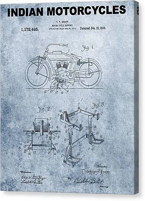 1916 Grunge Indian Motorcycle Patent Canvas Print by Dan Sproul