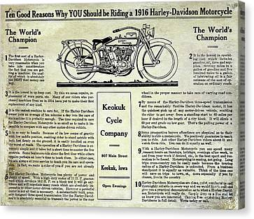1916 Harley Davidson Advertisement Canvas Print by Jon Neidert