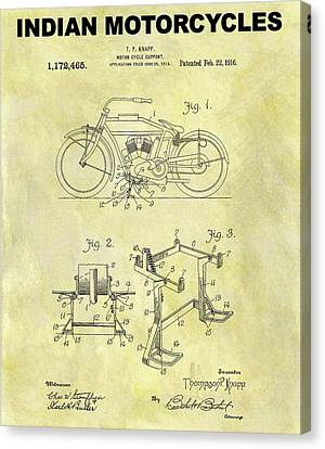 1916 Indian Motorcycle Patent Canvas Print by Dan Sproul