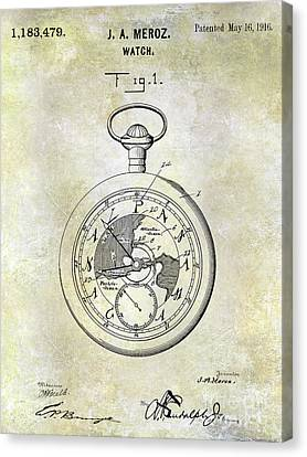 1916 Pocket Watch Patent Canvas Print