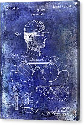 Baseball Canvas Print - 1916 Sunglasses Patent Blue by Jon Neidert