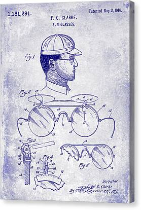 Baseball Canvas Print - 1916 Sunglasses Patent Blueprint by Jon Neidert