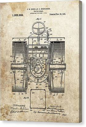 1916 Tractor Patent Canvas Print by Dan Sproul