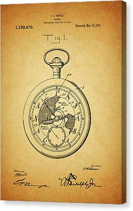 1916 Travel Watch Patent Canvas Print by Dan Sproul