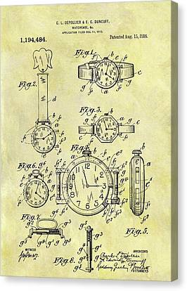 1916 Watch Patent Canvas Print by Dan Sproul