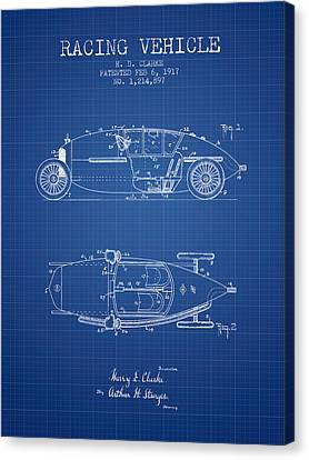 1917 Racing Vehicle Patent - Blueprint Canvas Print by Aged Pixel
