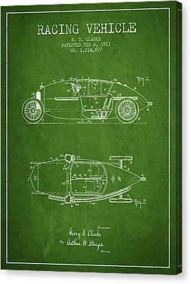 1917 Racing Vehicle Patent - Green Canvas Print by Aged Pixel