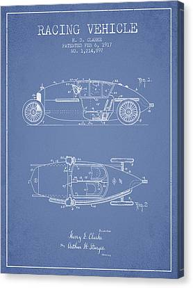 1917 Racing Vehicle Patent - Light Blue Canvas Print by Aged Pixel