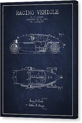 1917 Racing Vehicle Patent - Navy Blue Canvas Print by Aged Pixel