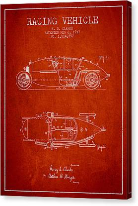 1917 Racing Vehicle Patent - Red Canvas Print by Aged Pixel
