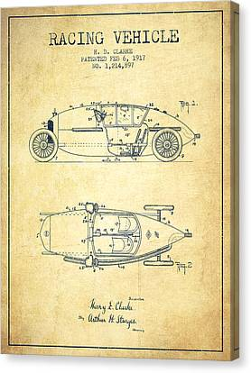 1917 Racing Vehicle Patent - Vintage Canvas Print by Aged Pixel