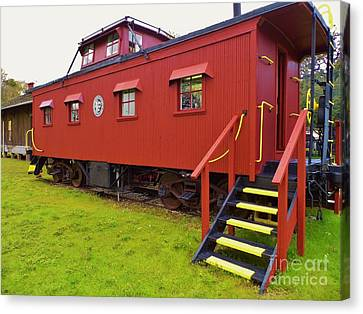1917 Red Caboose Canvas Print